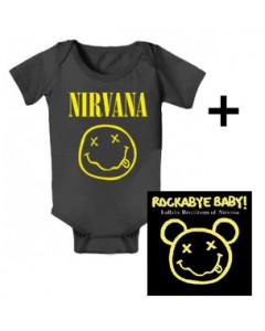 Gåvoset Nirvana body Baby Smiley & Nirvana CD