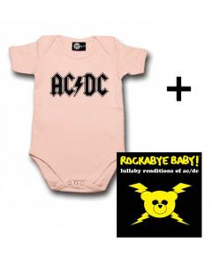 Gåvoset AC/DC Baby body Logo rosa & AC/DC CD